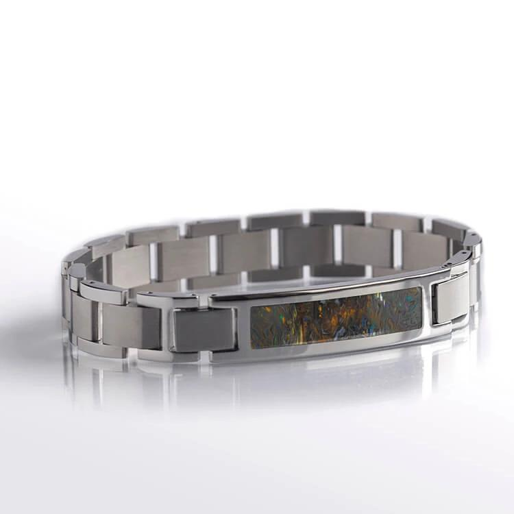 Steel Interchangeable Bracelet with Synthetic Opal Inlay-RS10608 - Jewelry by Johan