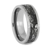 Tungsten Wedding Band with Mimetic Meteorite Engraving, Size 9.5