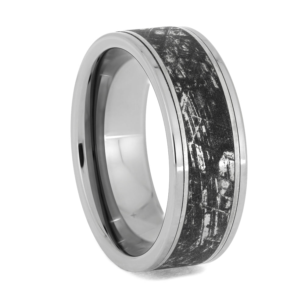 Tungsten Wedding Band with Mimetic Meteorite Engraving