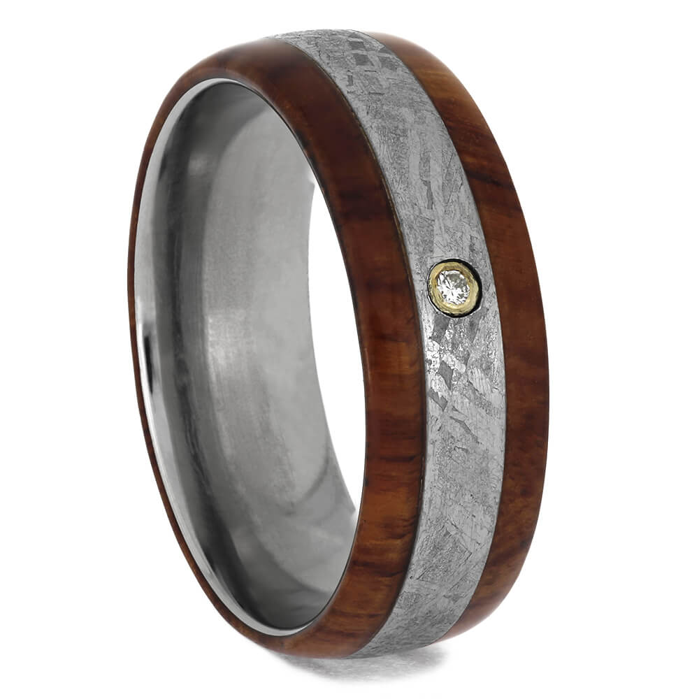 Tulipwood and Meteorite Ring in Titanium with Bezel Set Diamond, Size 8.5-RS10618 - Jewelry by Johan