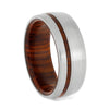 Brushed Titanium Ring with Cocobolo Wood