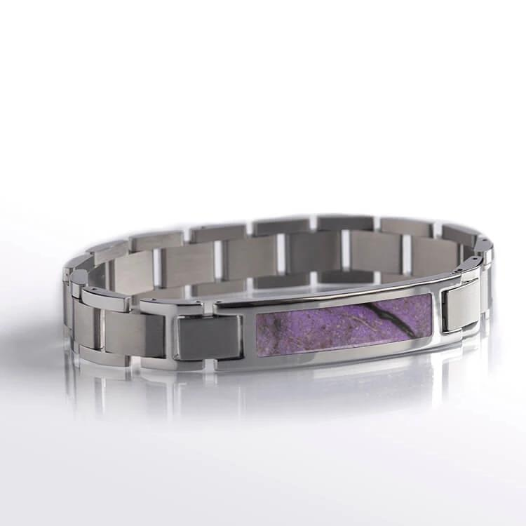 Purple Interchangeable Stainless Steel Bracelet with Sugilite Inlay-RS10624 - Jewelry by Johan