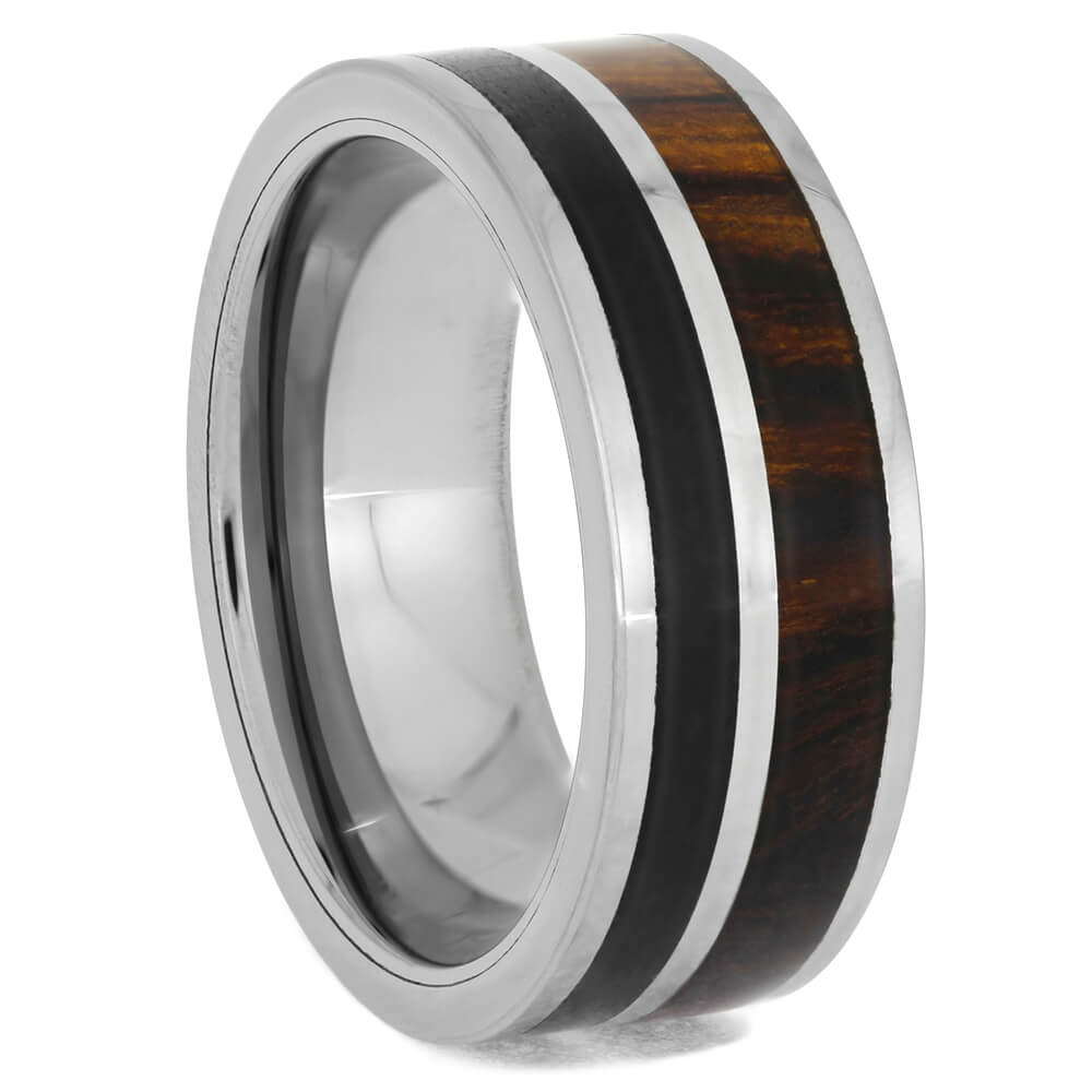 Solid Obsidian and Ironwood Tungsten Ring, Size 8-RS10634 - Jewelry by Johan