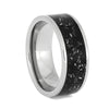 Polished Titanium Ring with Black Stardust, Size 8.5