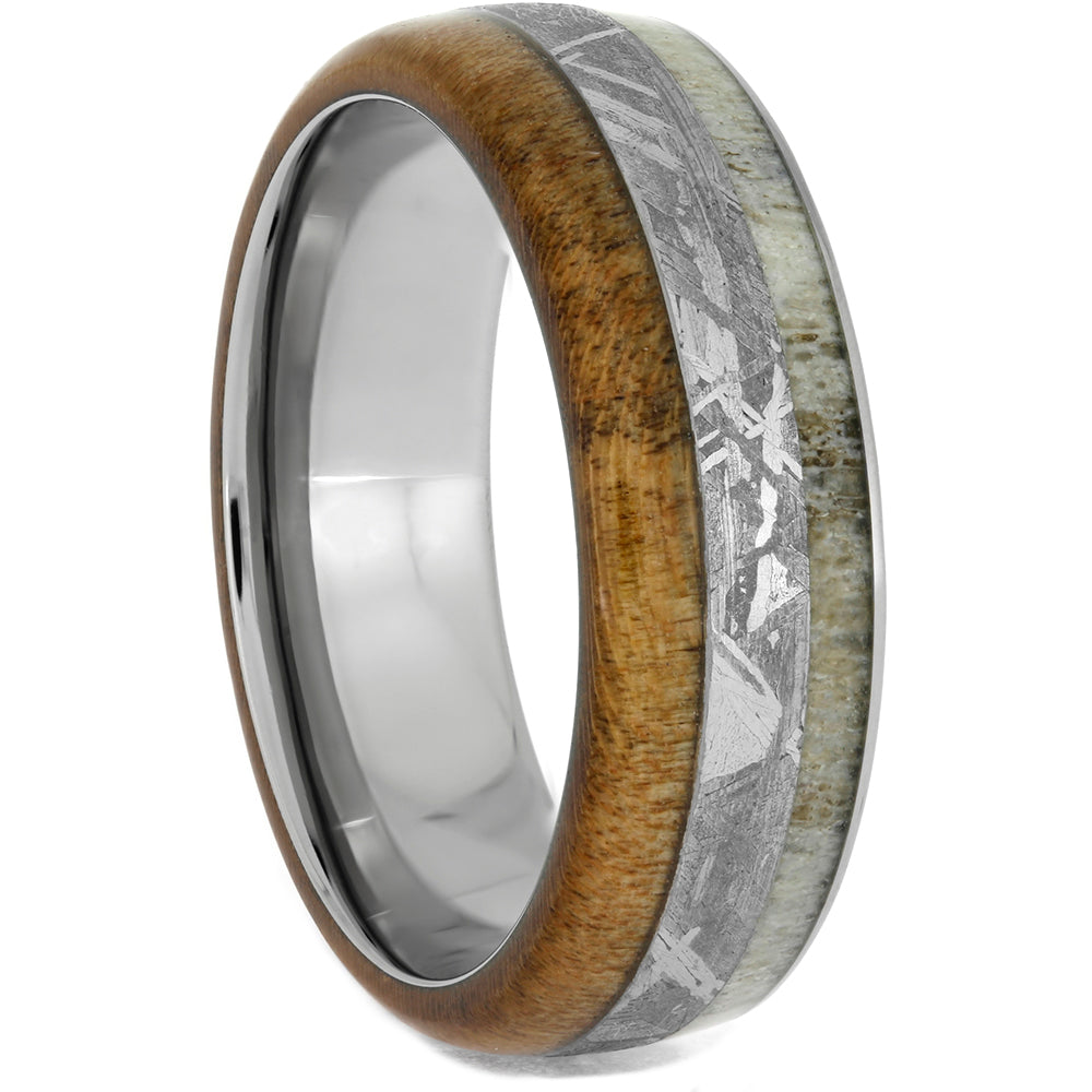 Antler, Meteorite, and Maple Wood Ring in Titanium, Size 12.5-RS10638 - Jewelry by Johan