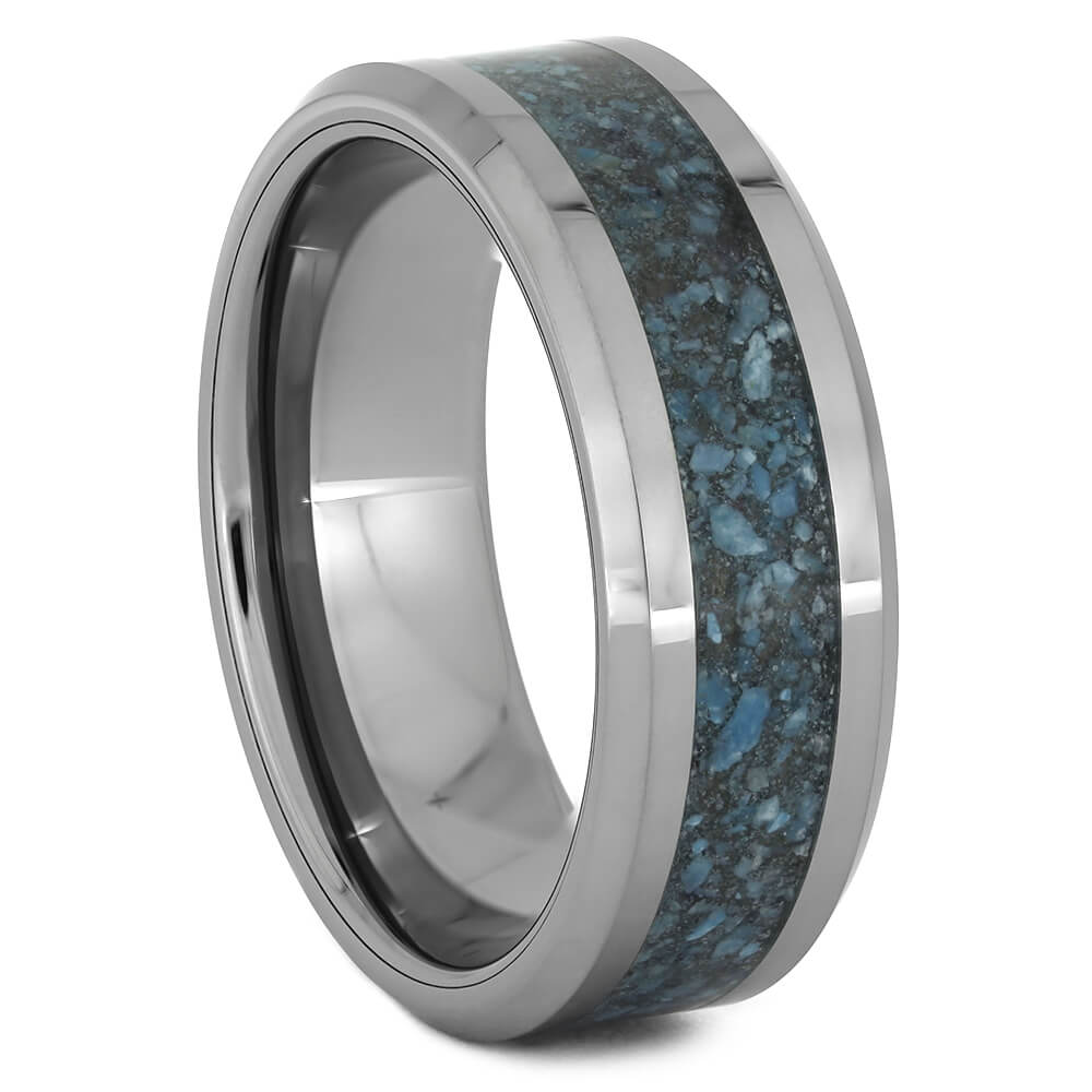 Tungsten Wedding Band with Crushed Turquoise
