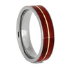 Ruby Redwood Wedding Band With Rose Gold Pinstripe, Size 10.5-RS10649
