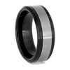 Beveled Black Ceramic Ring with Matte Titanium Inlay, Size 9.5