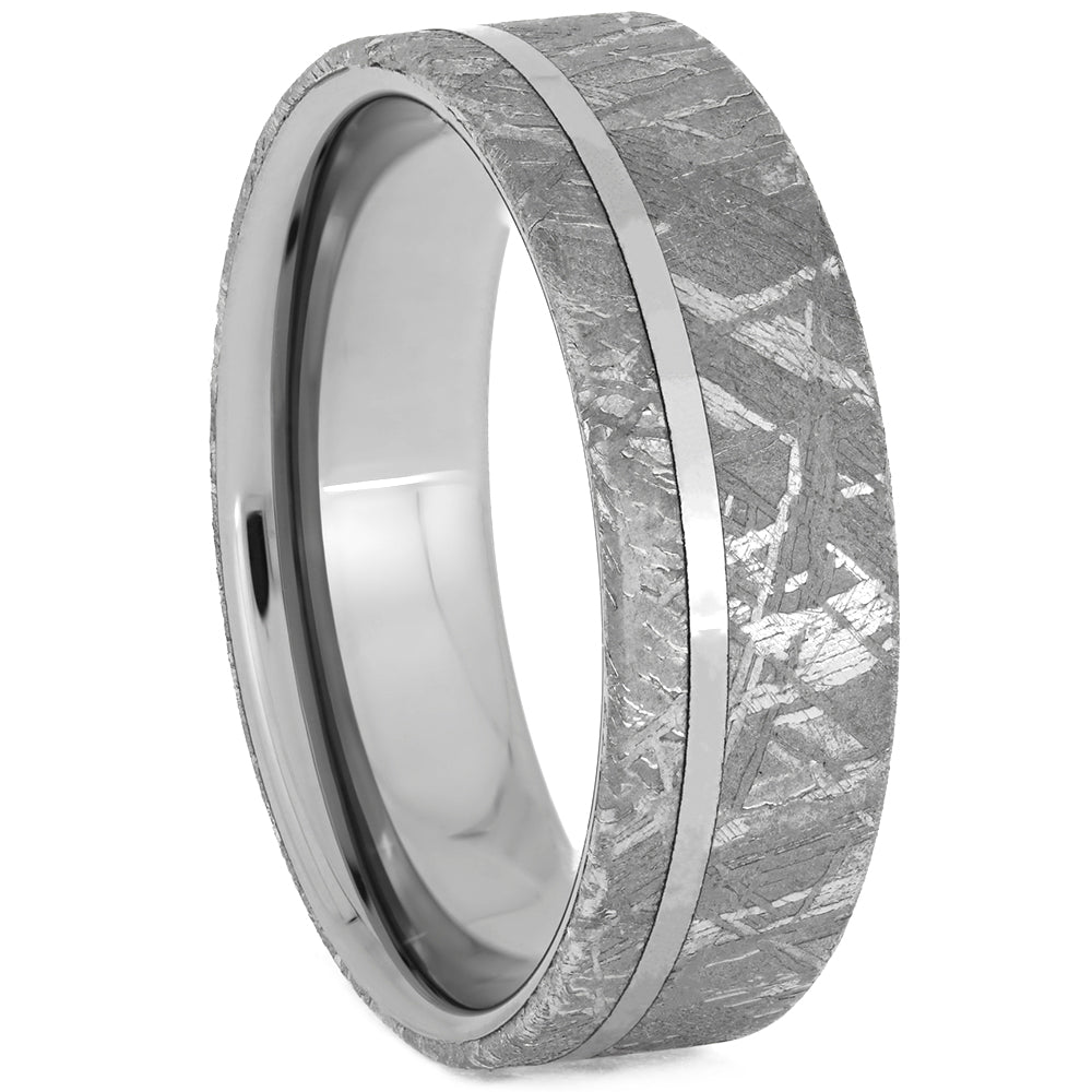 Tungsten Men's Wedding Band with Gibeon Meteorite Overlay, Size 13.5-RS10653 - Jewelry by Johan