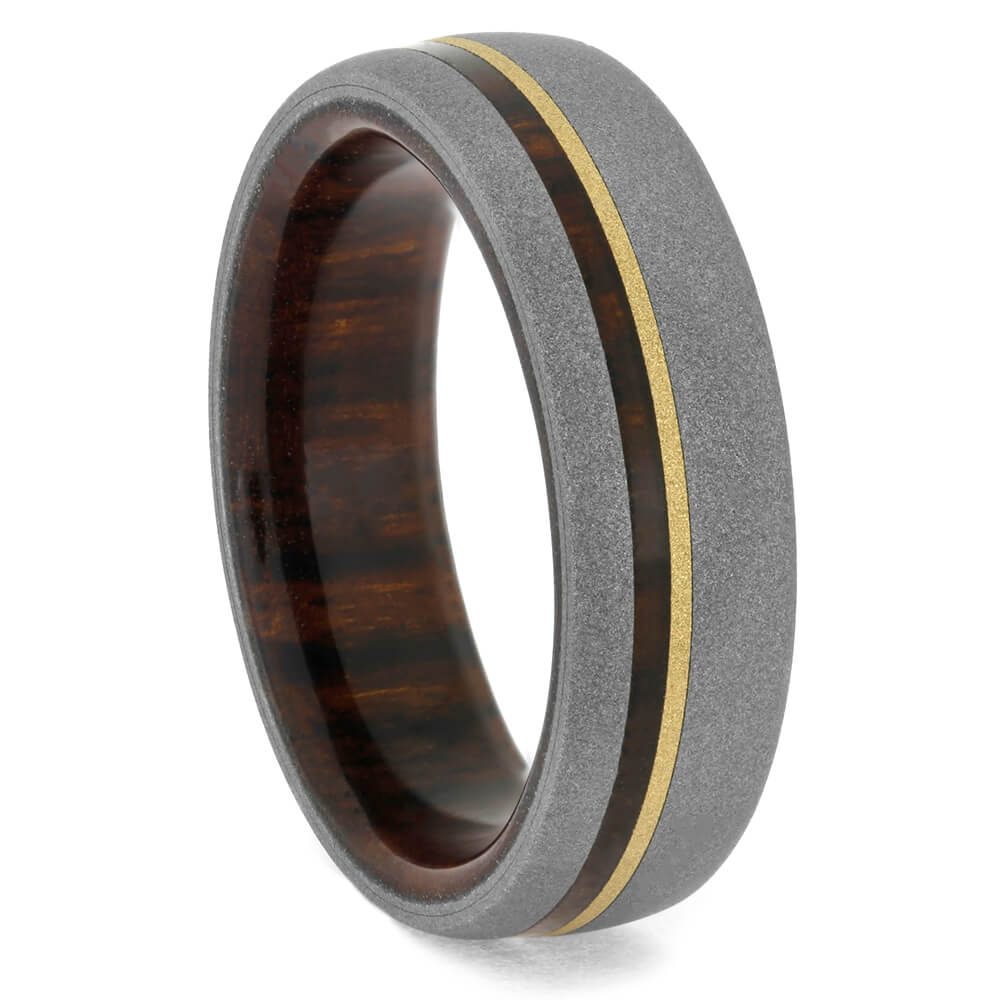 Sandblasted Titanium Wedding Band with Ironwood and Yellow Gold