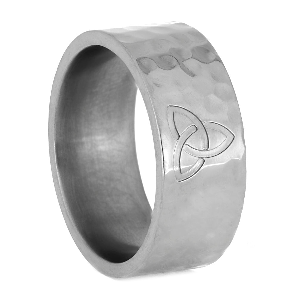 Celtic Trinity Knot Ring With Hammered Finish In Titanium, Size 10-RS10658 - Jewelry by Johan