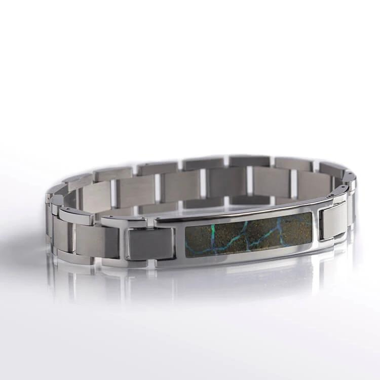 Boulder Opal Inlay, Stainless Steel Interchangeable Bracelet-RS10665 - Jewelry by Johan