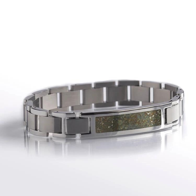 Chondrite Meteorite Inlay, Stainless Steel Interchangeable Bracelet-RS10666 - Jewelry by Johan