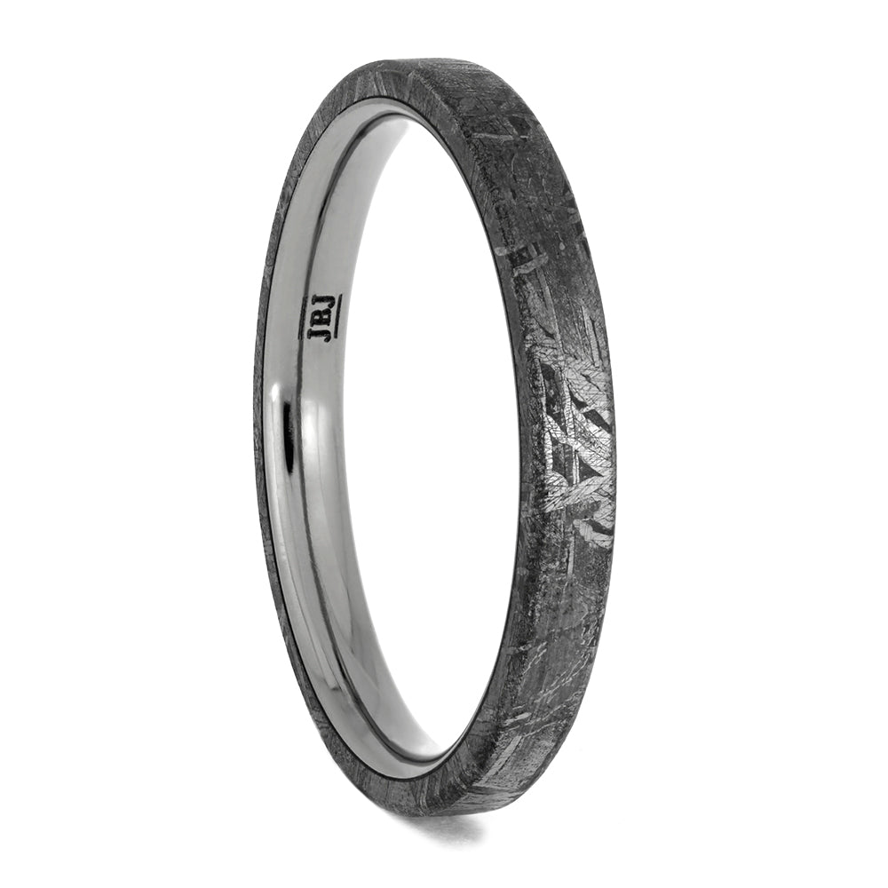 Thin Men's Titanium Ring With Authentic Meteorite, Size 11-RS10671 - Jewelry by Johan