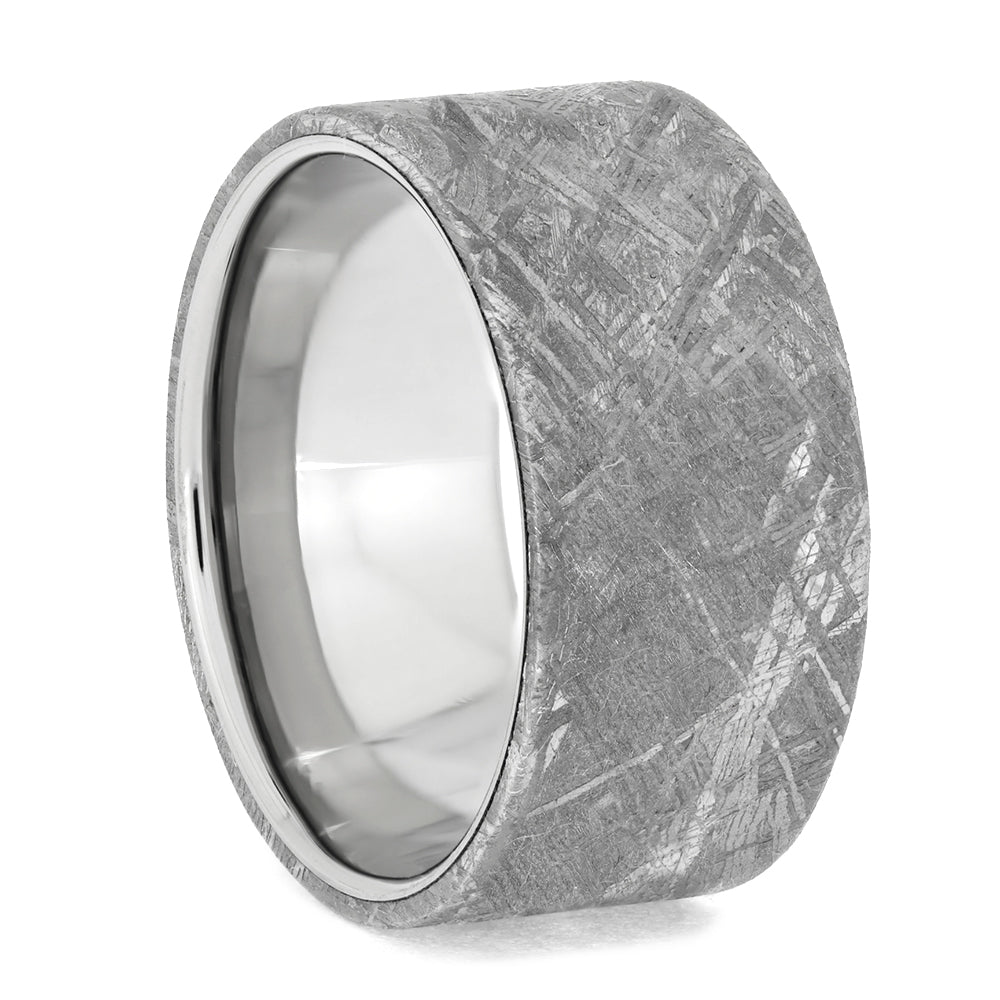 Wide Meteorite Ring with Polished Titanium Sleeve, Size 10.5-RS10672