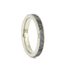 Dainty Meteorite Wedding Band In 14k White Gold, Space Ring, Size 4.75-RS10673