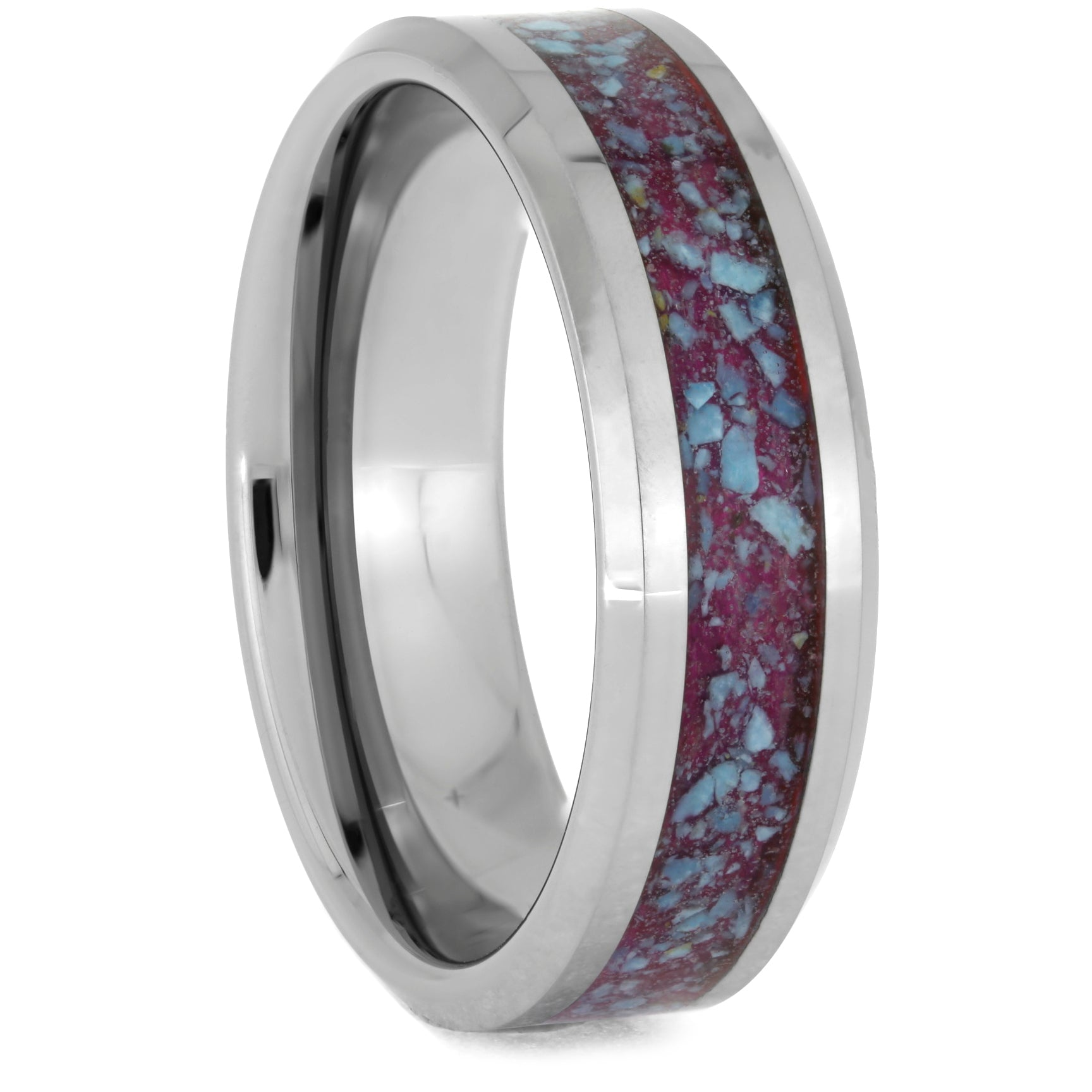 Crushed Turquoise Men's Wedding Band in Tungsten, Size 12.5-RS10677 - Jewelry by Johan