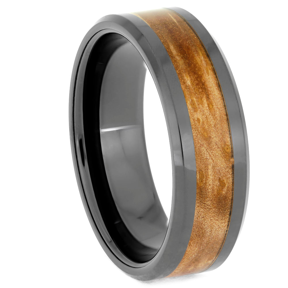 Sindora Wood Black Ceramic Men's Wedding Band, Size 12.5-RS10678 - Jewelry by Johan