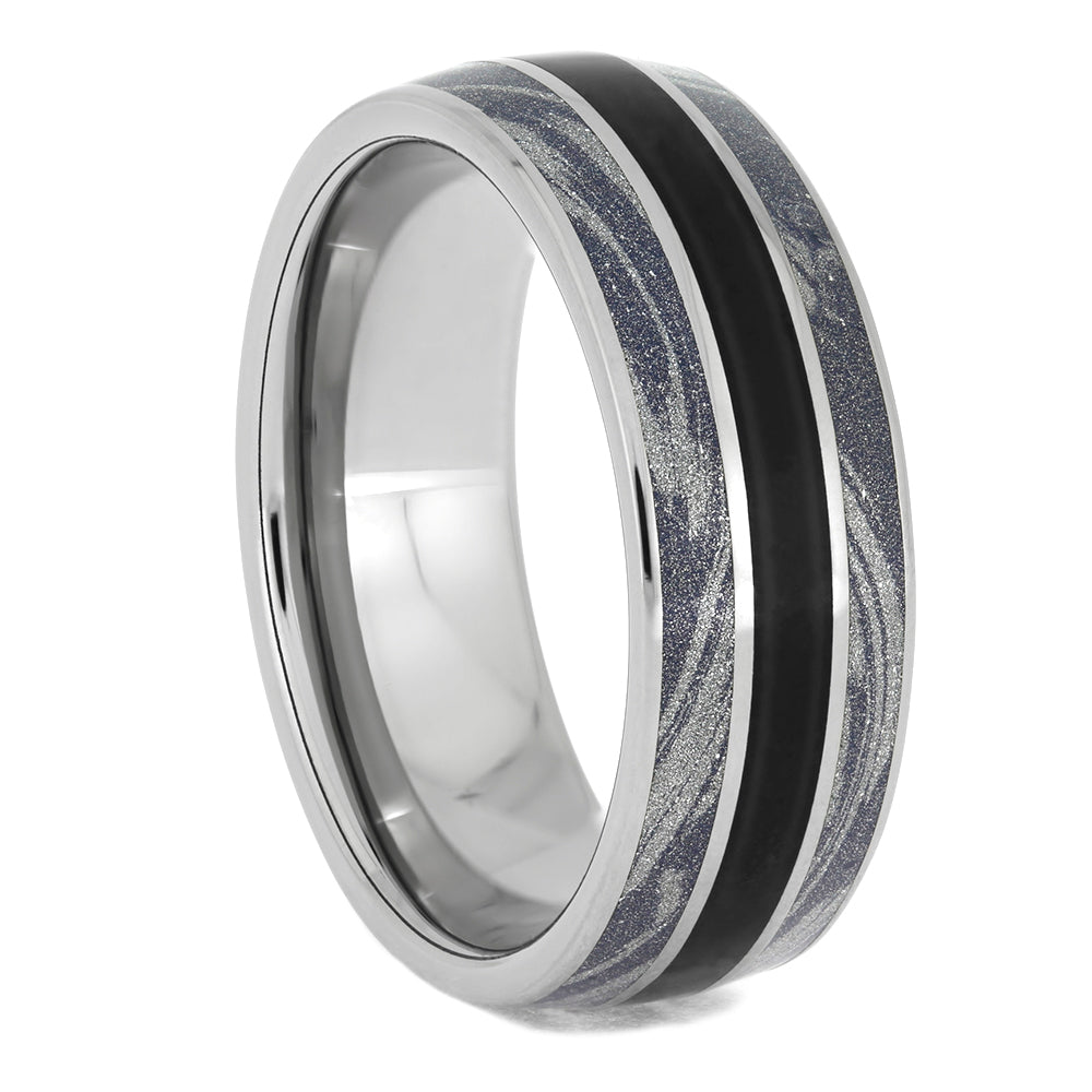 Solid Black Jade and Mokume Ring in Titanium, Size 11.25-RS10688 - Jewelry by Johan