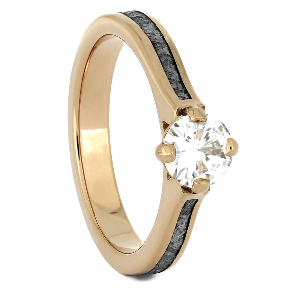 Rose Gold Moissanite Engagement Ring with Meteorite