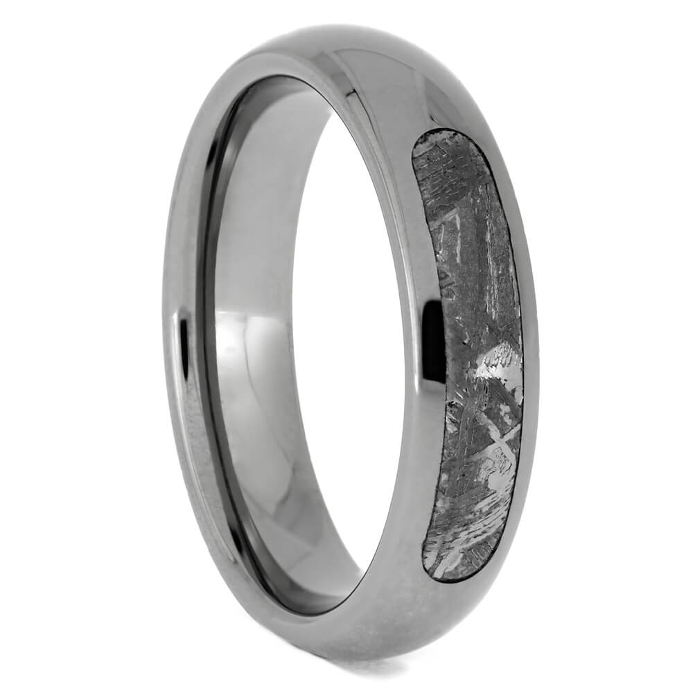 Partial Meteorite Wedding Band In Polished Titanium, Size 8.25-RS10696 - Jewelry by Johan