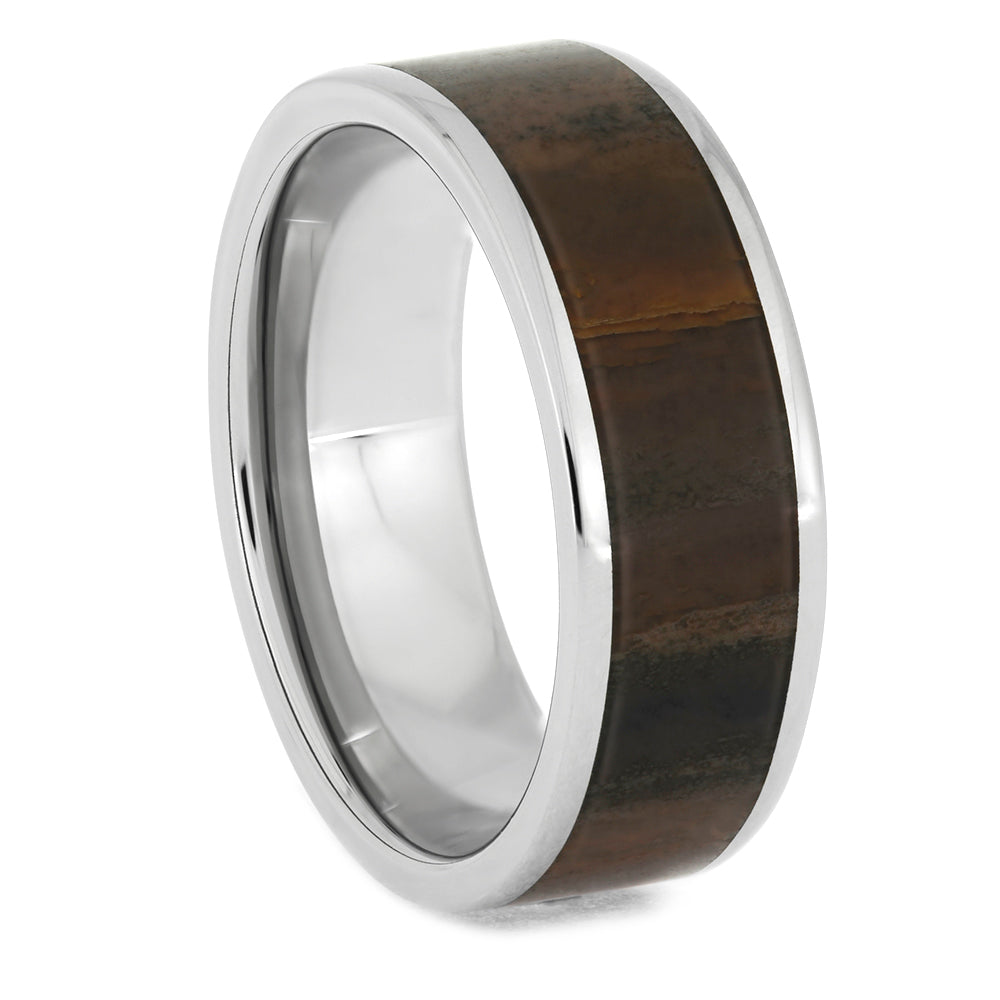 Solid Petrified Wood Ring in Polished Titanium Sleeve, Size 11-RS10699 - Jewelry by Johan