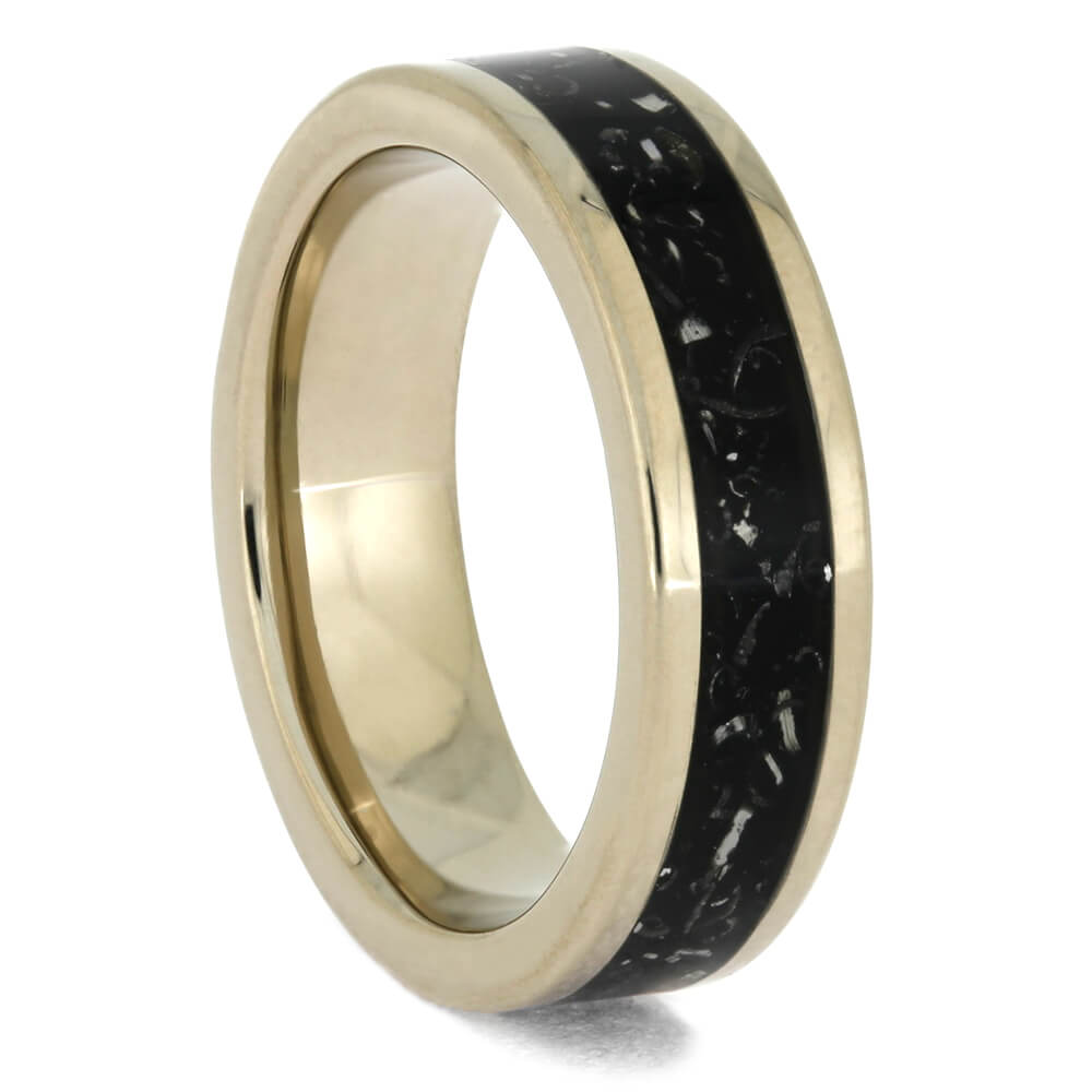 Palladium Wedding Band with Black Stardust Material