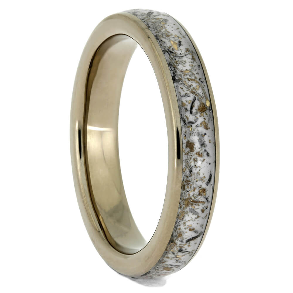 Palladium Wedding Band with White Stardust Inlay