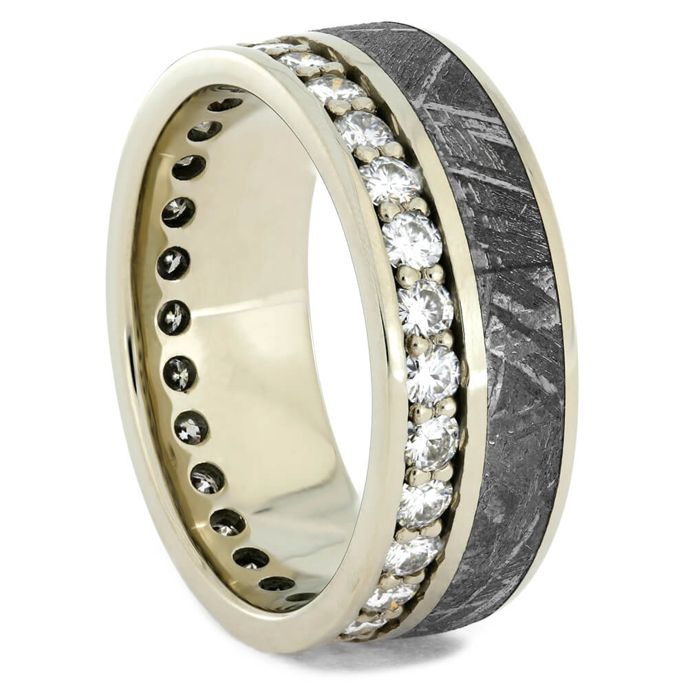 White Gold Moissanite Eternity Ring with Meteorite, Size 11-RS10708 - Jewelry by Johan