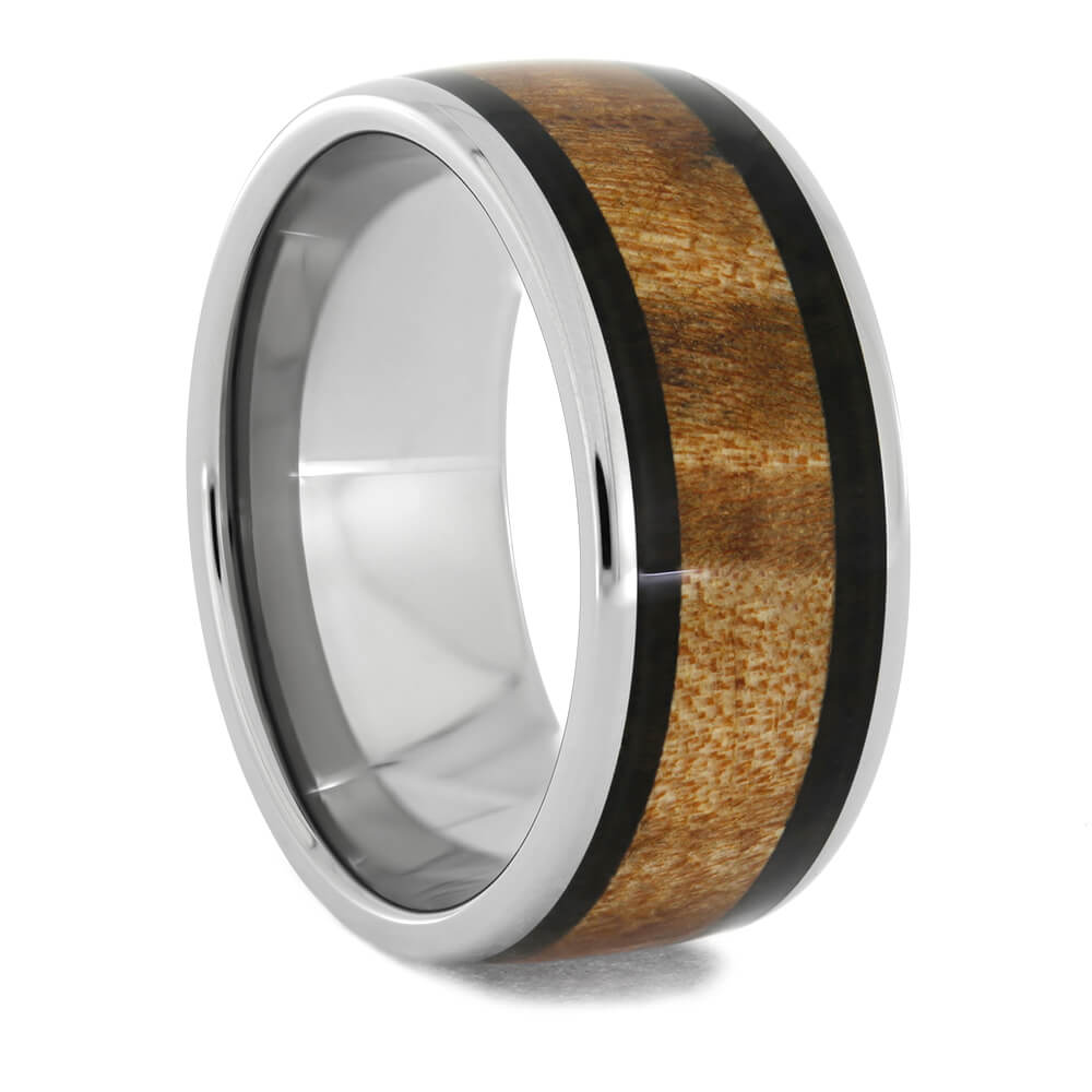 Blackwood and Maple Burl Wood Ring in Titanium