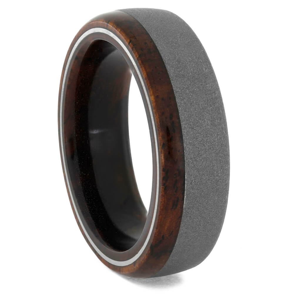 Dark Honduran Rosewood Wedding Band in Sandblasted Titanium, Size 8.5-RS10720 - Jewelry by Johan