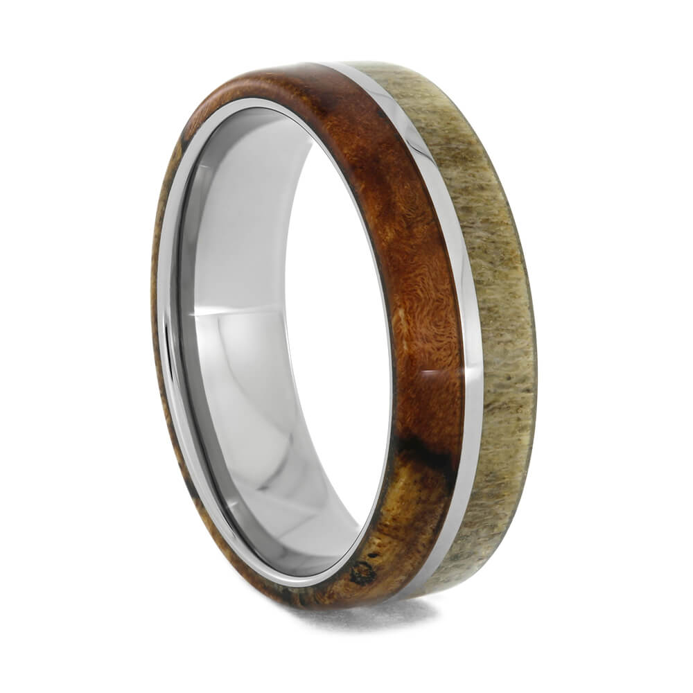 Spalted Maple Burl and Deer Antler Ring in Titanium, Size 10.25-RS10726 - Jewelry by Johan