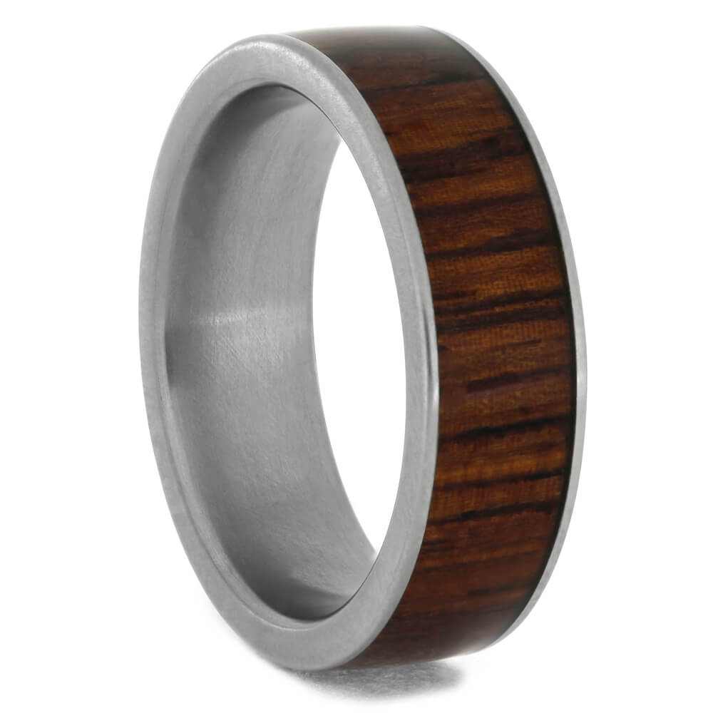 Honduran Rosewood Wedding Band In Matte Titanium, Size 6.5-RS10732 - Jewelry by Johan