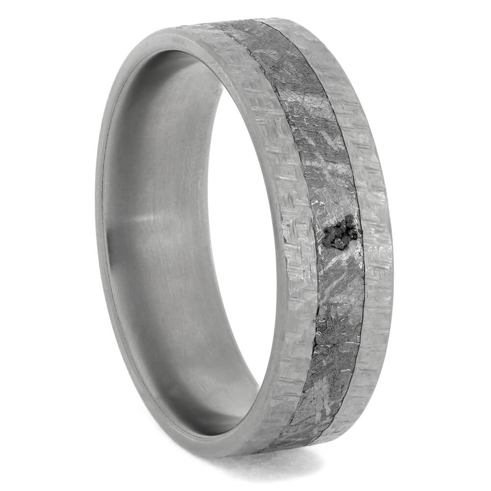 Hammered Titanium Ring with Gibeon Meteorite, Size 12-RS10737 - Jewelry by Johan