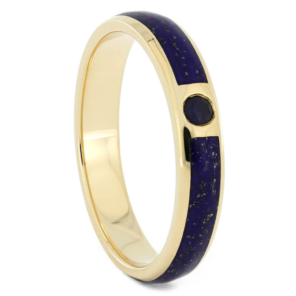 Gold Wedding Band With Lapis and Sapphire, Size 8.25-RS10740 - Jewelry by Johan