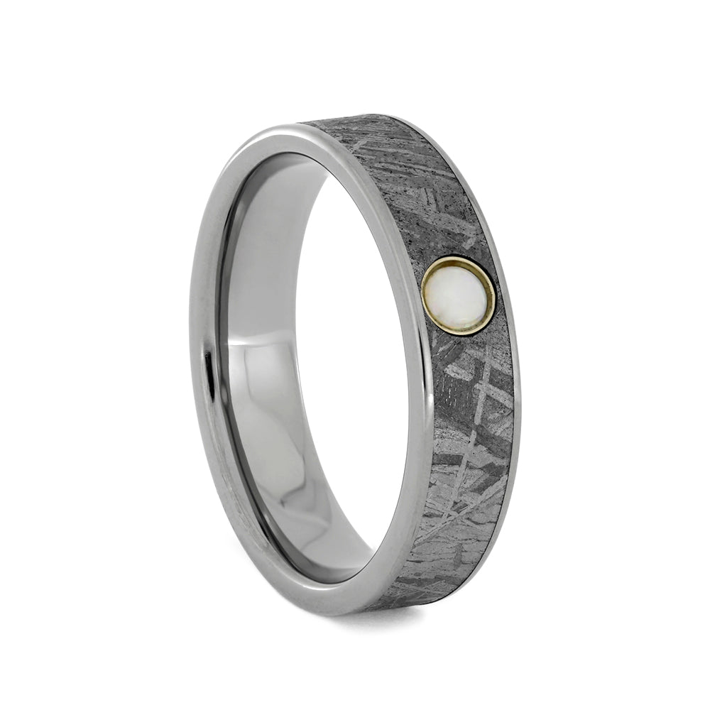 Bezel Opal set in Meteorite, Titanium Wedding Band, Size 8-RS10750 - Jewelry by Johan