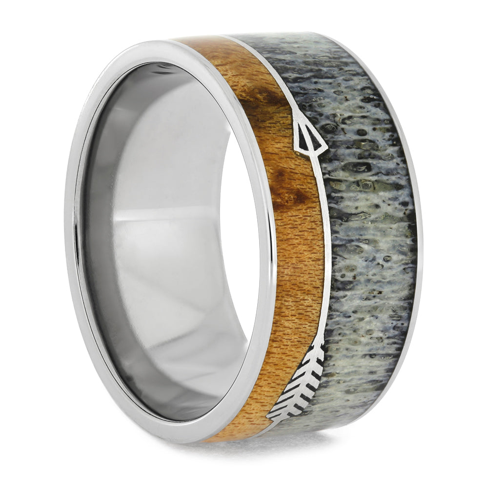 Silver Arrow Wedding Band With Antler And Maple