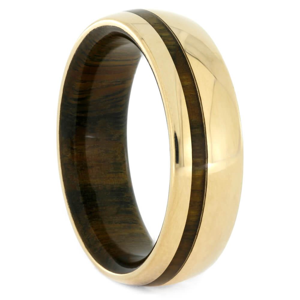 Lignum Vitae Wood Ring with Yellow Gold Edges