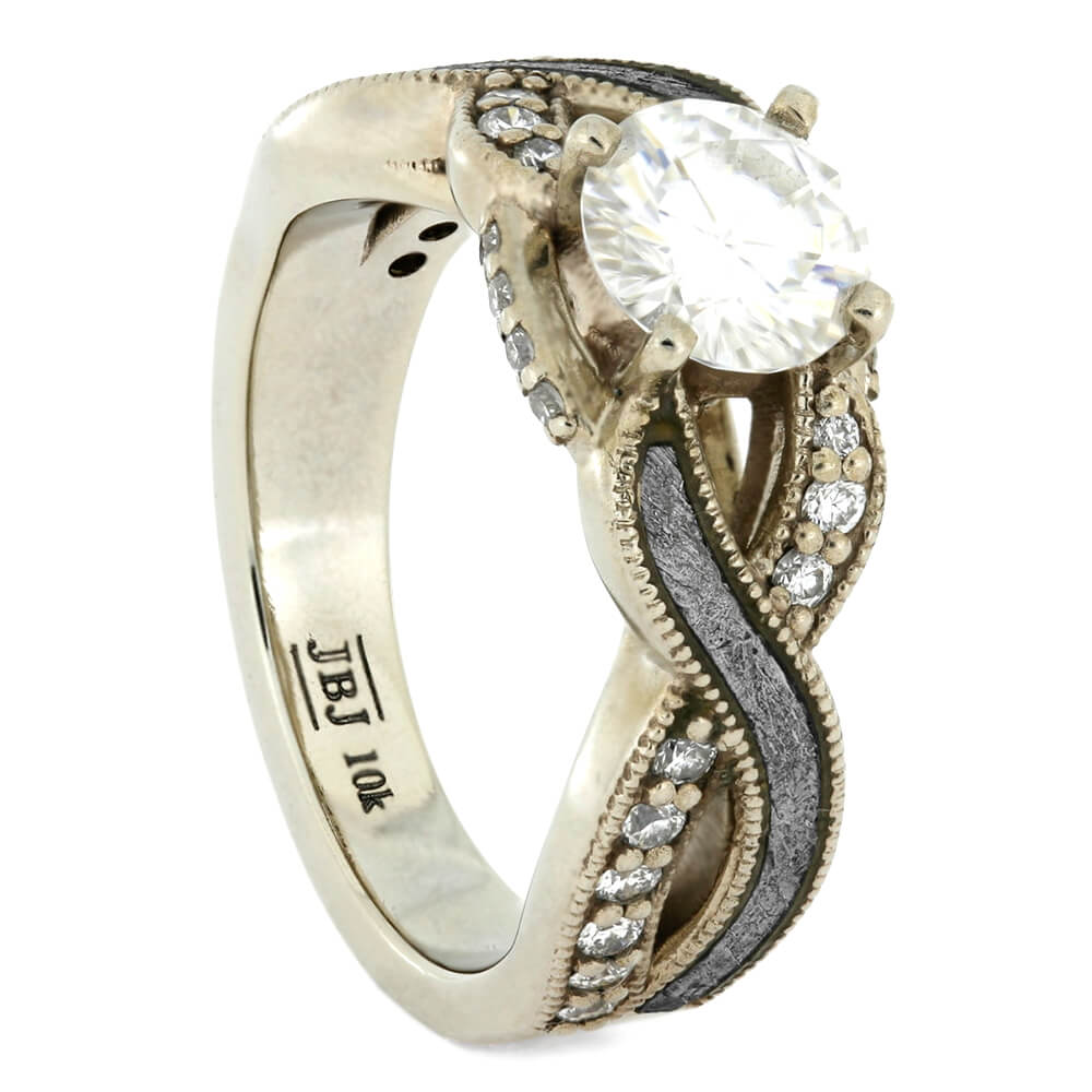 Moissanite Engagement Ring with Meteorite and Diamond Twist, Size 4.5-RS10754 - Jewelry by Johan