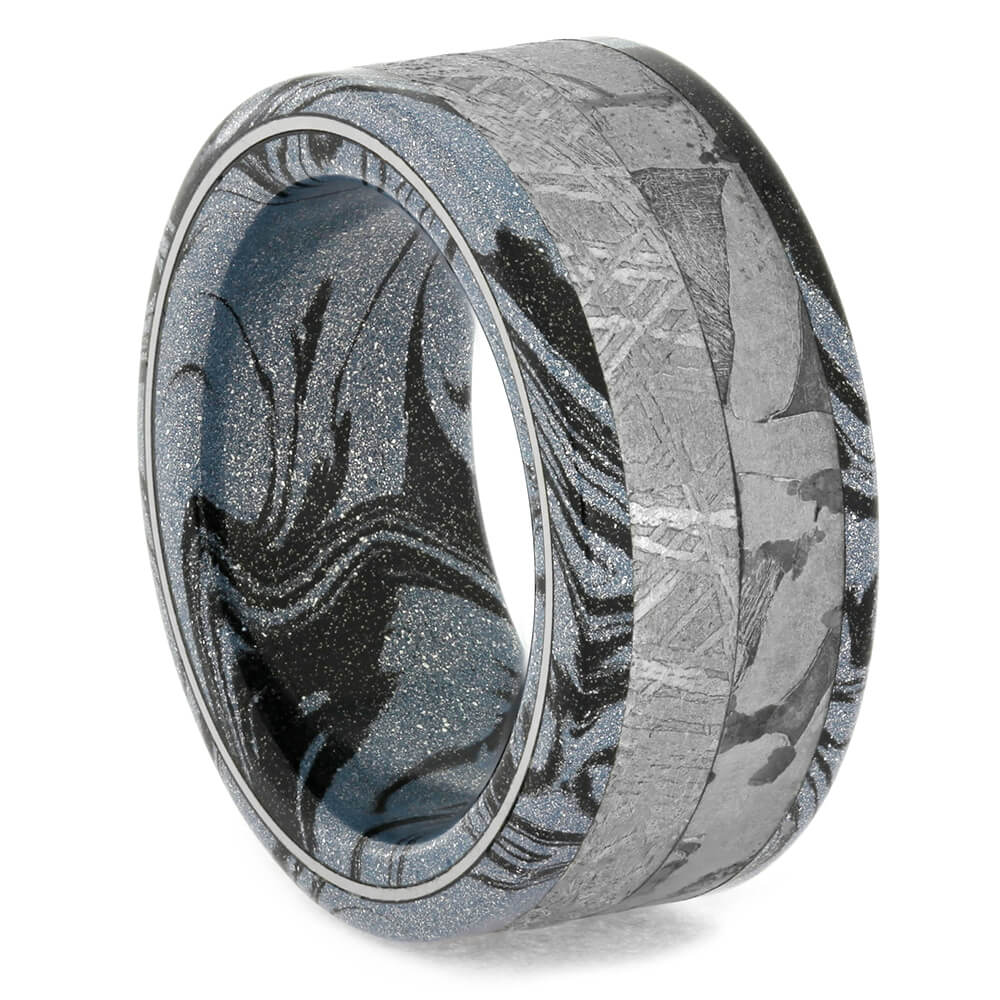 Cobaltium Mokume And Seymchan Meteorite Women's Ring, Size 5.75-RS10758 - Jewelry by Johan