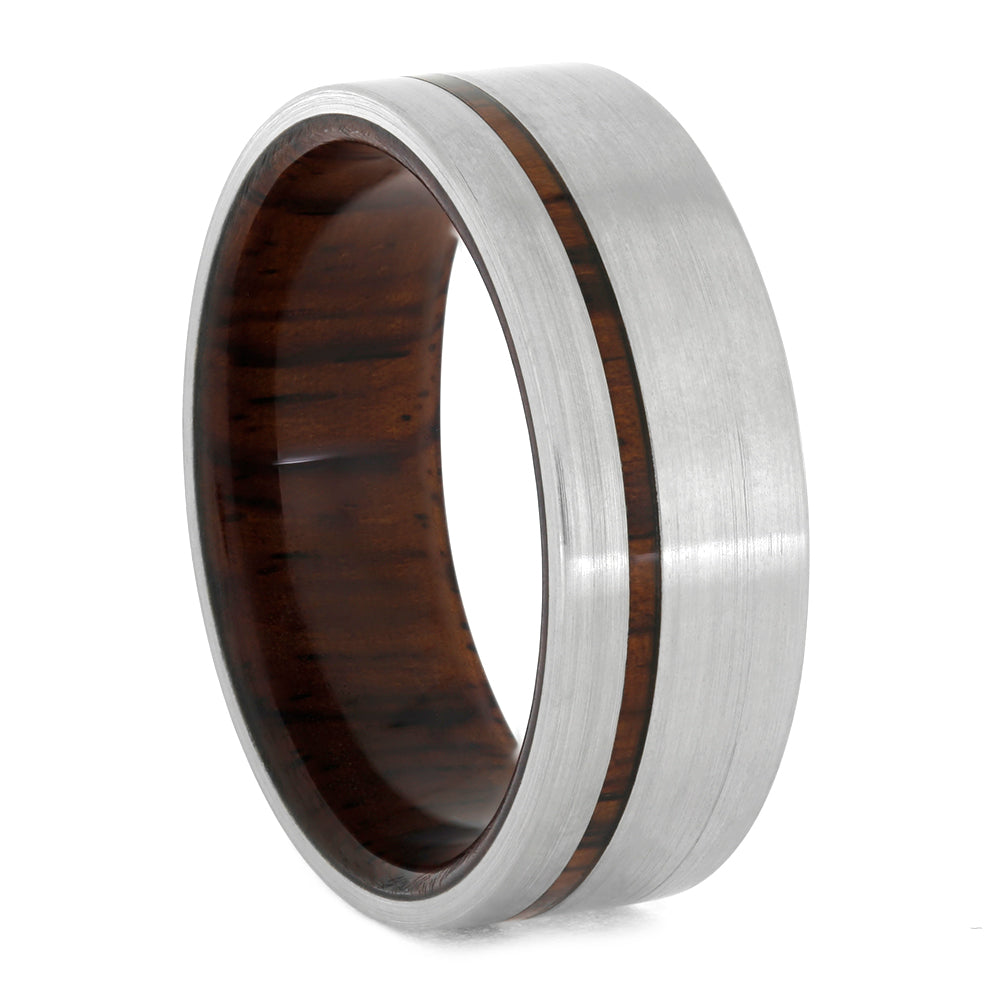 Honduran Rosewood Wedding Band In Titanium, Size 11.5-RS10759 - Jewelry by Johan