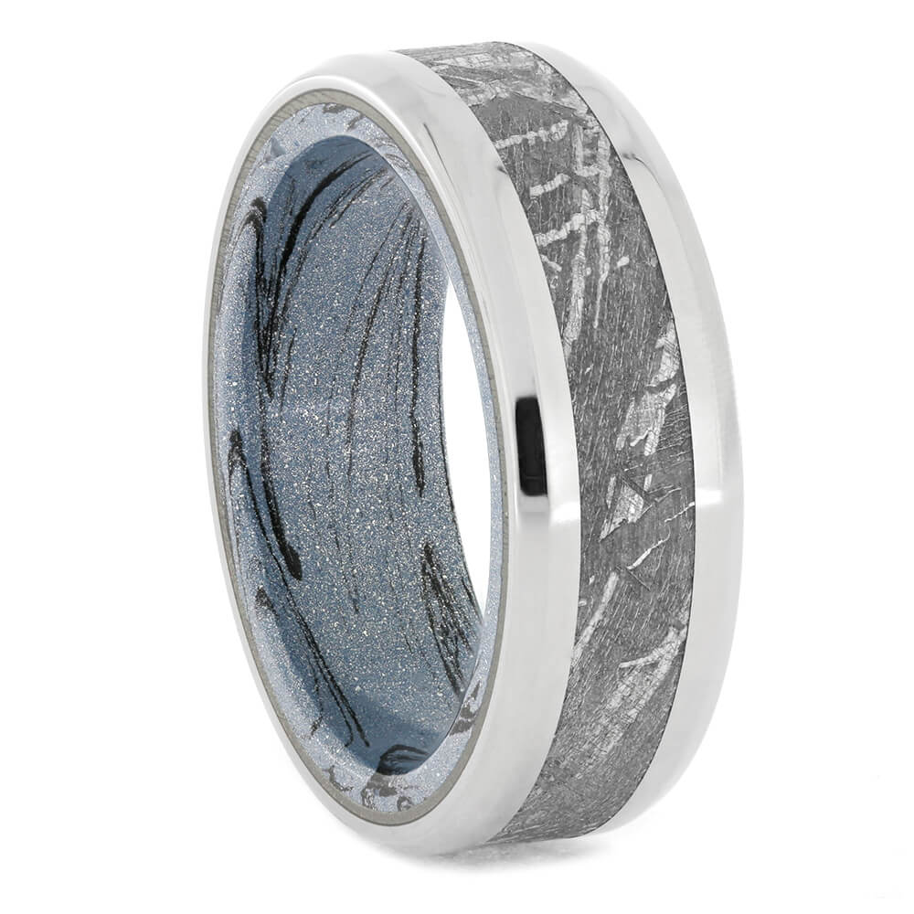 Meteorite Men's Wedding Band With Cobaltium Mokume