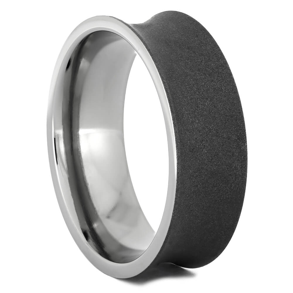 Concave Center Profile Wedding Band With Sandblasted Titanium, Size 10-RS10764 - Jewelry by Johan