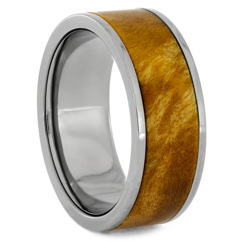 Interchangeable Titanium Ring with Gold Box Elder Burl Wood