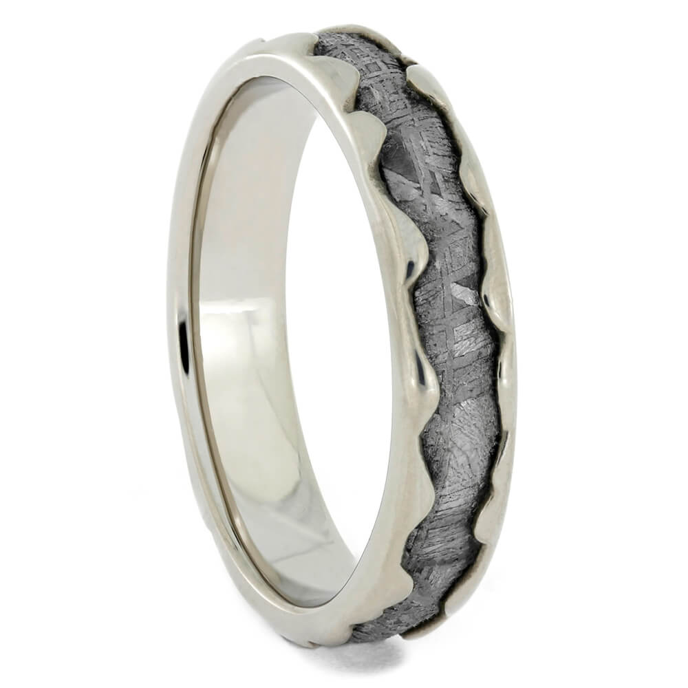Wavy Pattern Wedding Band with Meteorite