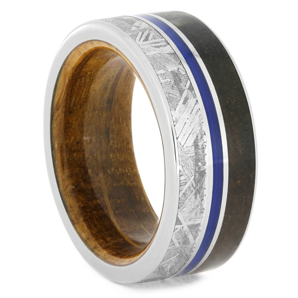 Whiskey Barrel Wood Ring With Meteorite And Dino Bone, Size 8-RS10772 - Jewelry by Johan