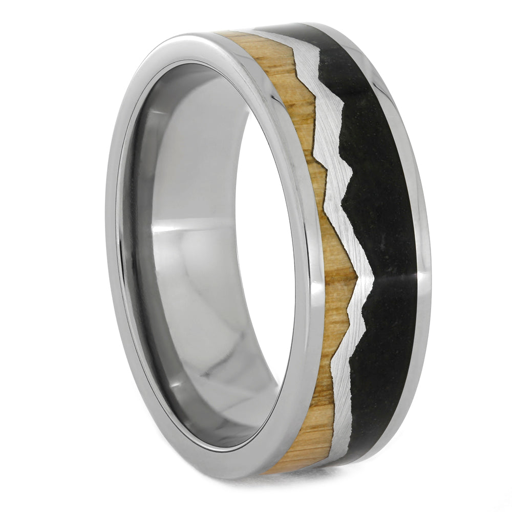Mountain Range Wedding Band With Wood And Dino Bone, Size 12-RS10779 - Jewelry by Johan