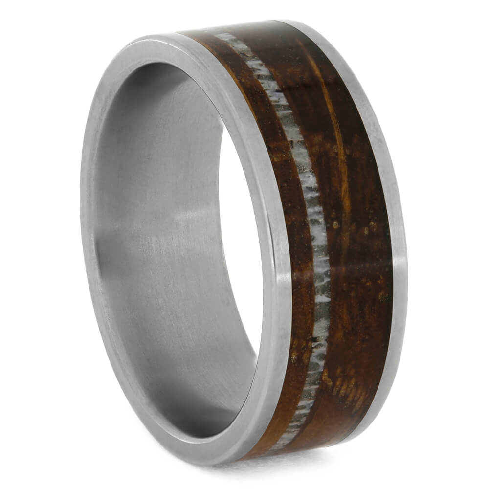 Whiskey Barrel Oak Wood Ring with Antler Pinstripe