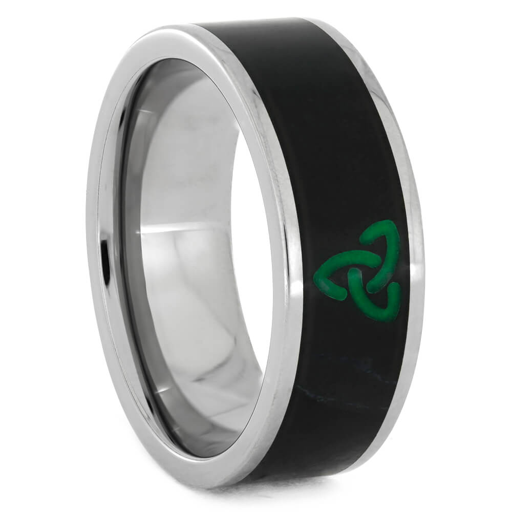 Black Jade Wedding Band with Green Celtic Knot