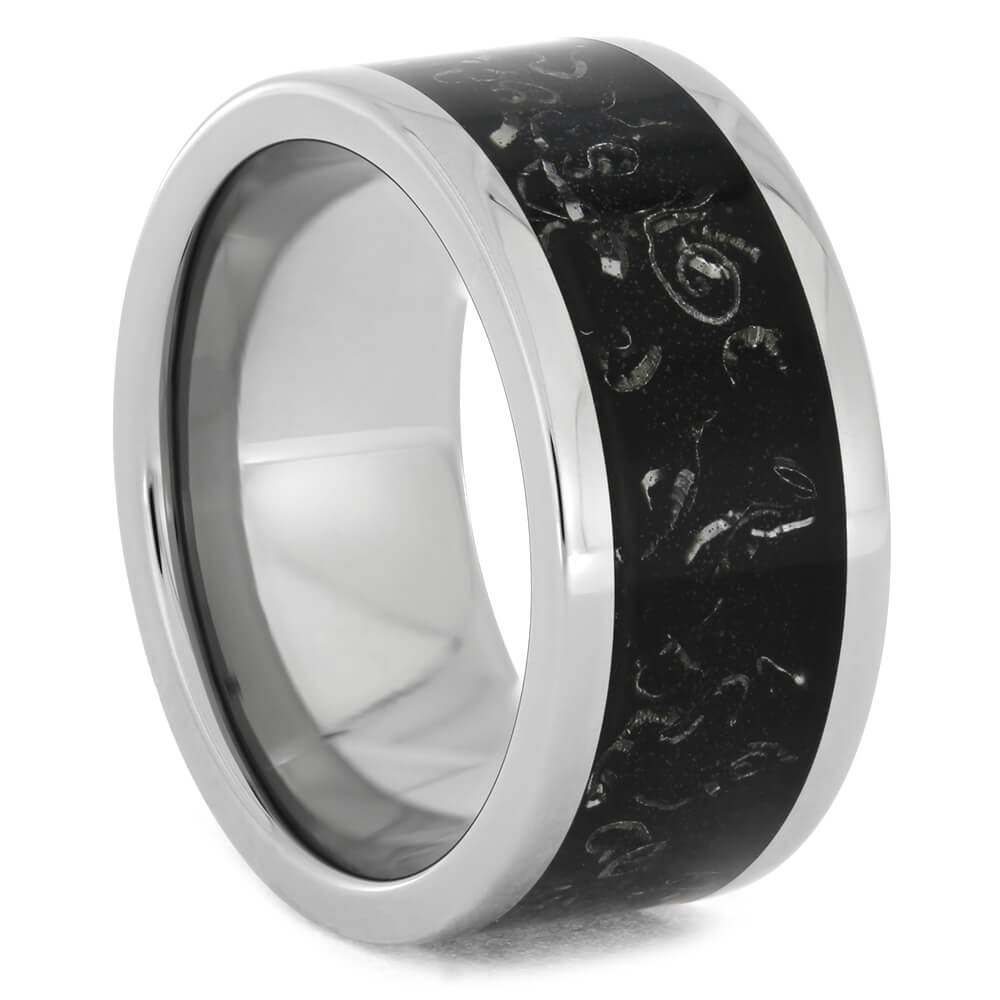 Men's Titanium Ring with Black Stardust Inlay